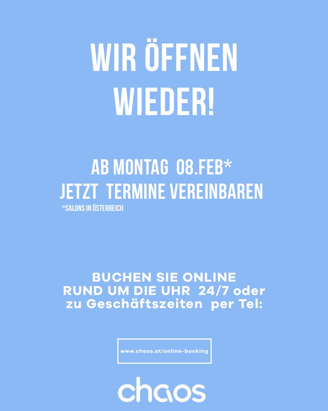 Endlich – wir öffnen unsere Salons in Österreich wieder am Montag 8. Februar